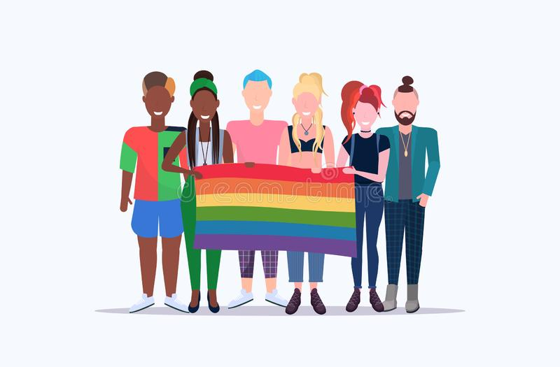 People group holding rainbow flag lgbt pride festival concept mix race gays lesbians celebrating love parade standing. Together full length flat horizontal vector illustration