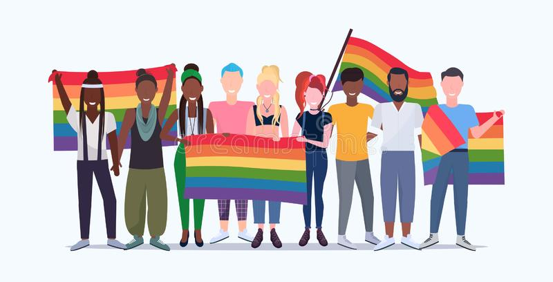 People group holding rainbow flag lgbt pride festival concept mix race gays lesbians crowd celebrating love parade. Standing together full length flat stock illustration