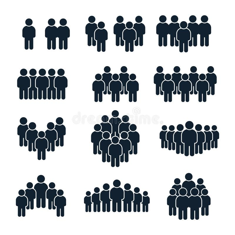 Free People Group Icon. Business Person, Team Management And Socializing Persons Silhouette Icons Vector Set Stock Photo - 156776390