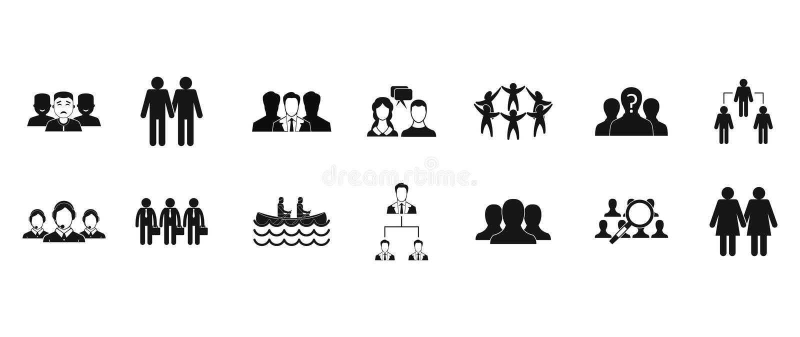 People group icon set, simple style vector illustration
