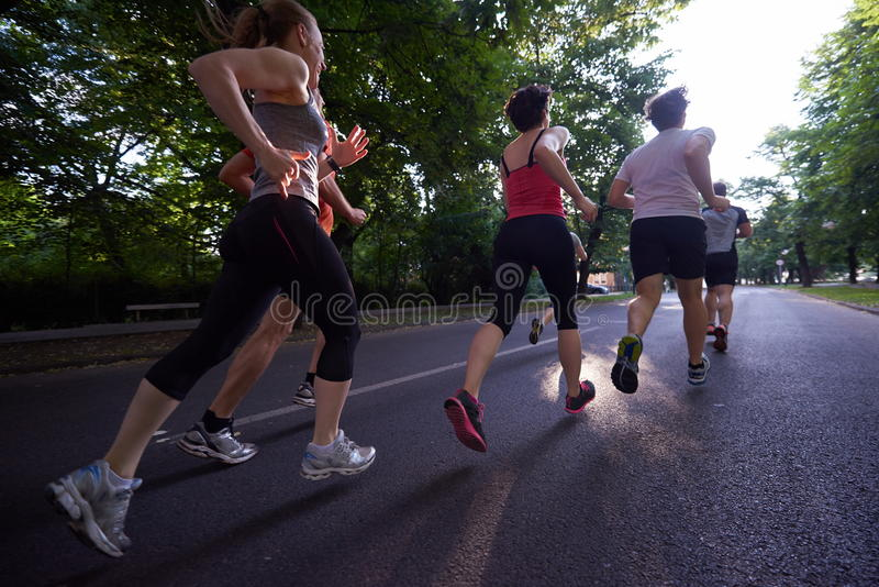 People group jogging royalty free stock image