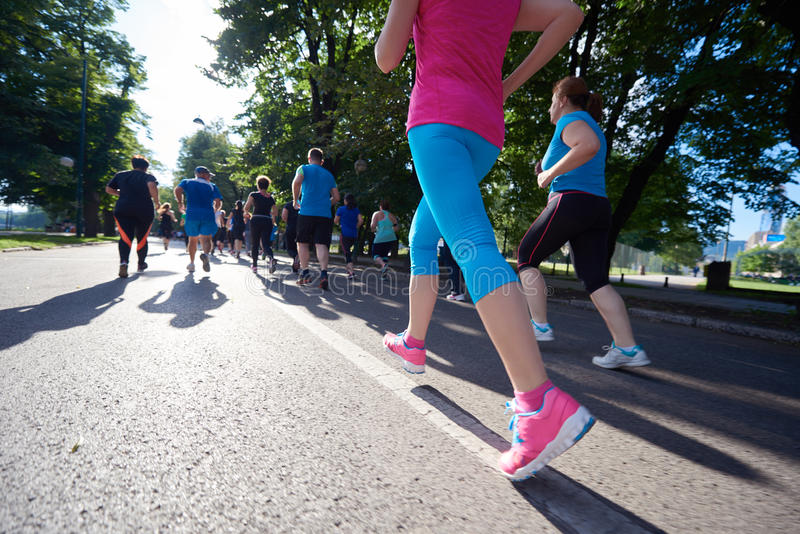 People group jogging stock photo