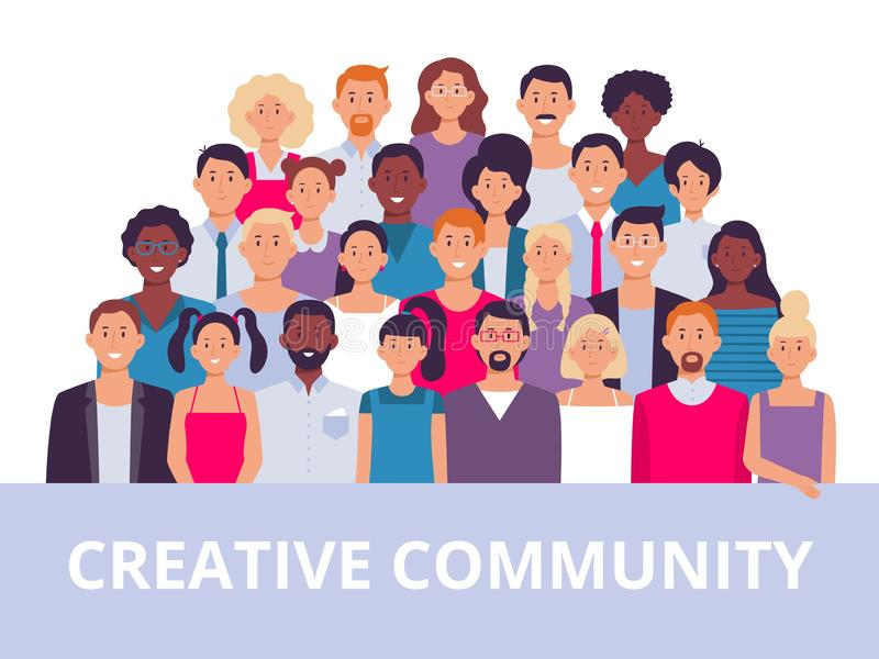 People group. Multiethnic community portrait, diverse adult people and office workers team vector illustration. People group. Multiethnic community portrait vector illustration