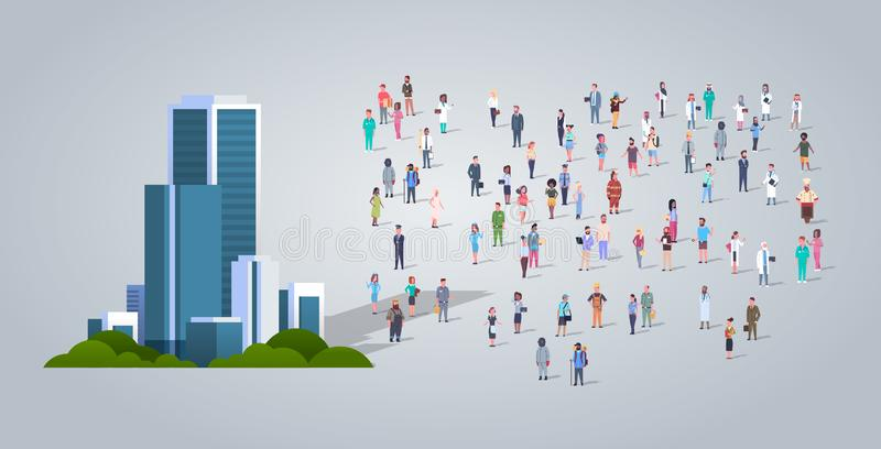 People group near modern office business center different occupation employees mix race workers crowd city skyscraper royalty free illustration