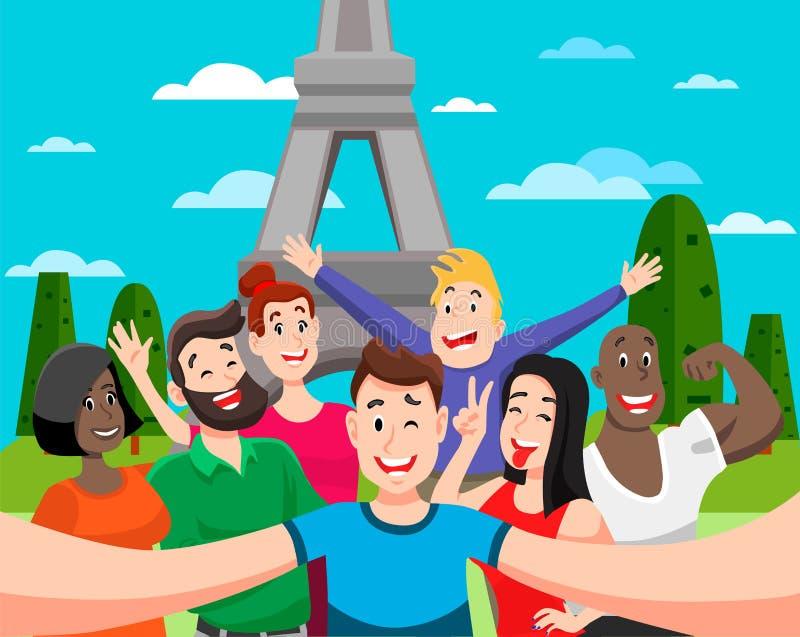 People group selfie vector illustration