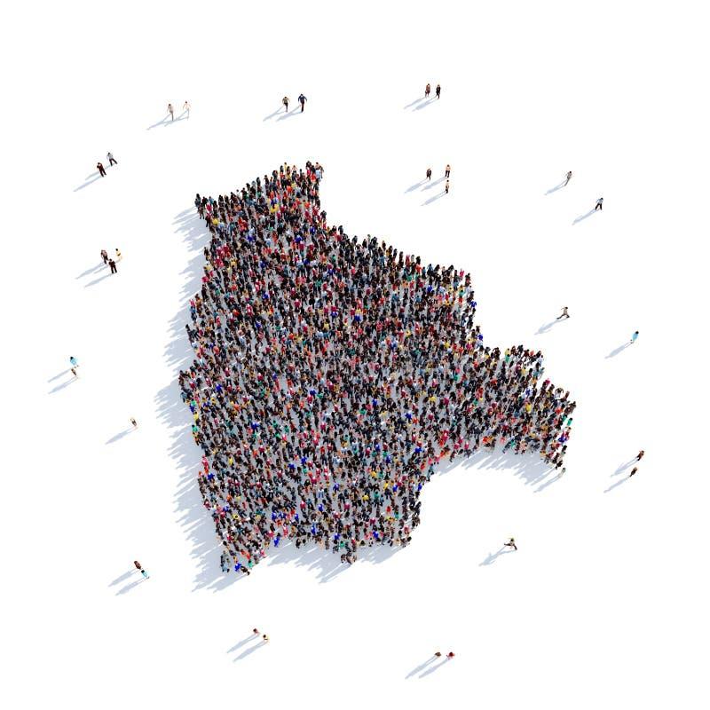 People Group Shape Map Bolivia Stock Illustration Illustration of