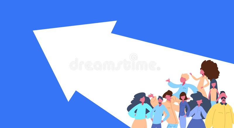 People group standing arrow right way team success concept man woman character diversity poses isolated cartoon portrait royalty free illustration