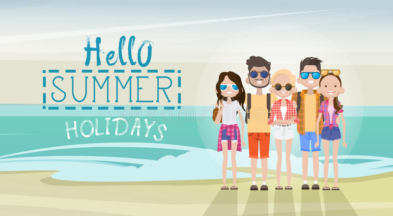 People Group On Summer Beach Vacation Concept Seaside Tropical Holiday Banner. Flat Vector Illustration stock illustration