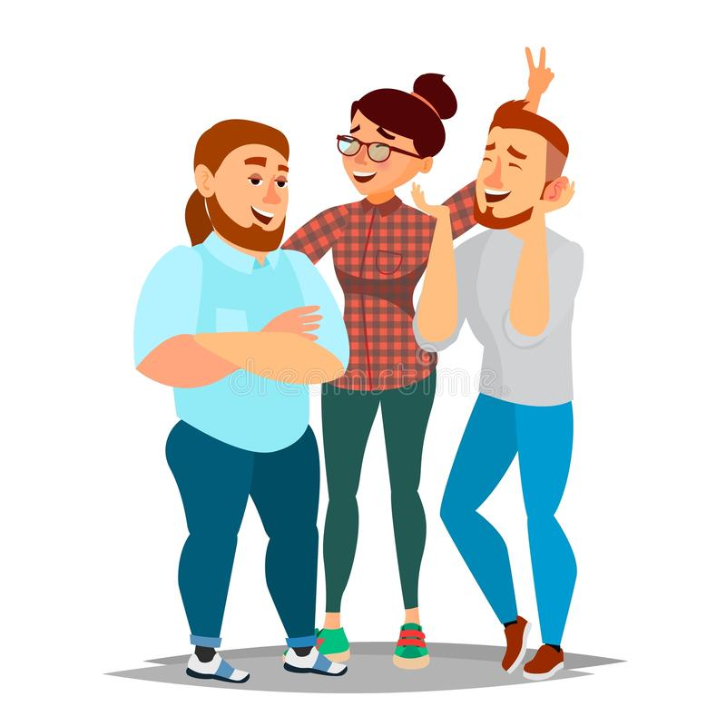 People Group Taking Photo Vector. Laughing Friends, Office Colleagues. Man And Women Take A Picture. Friendship Concept. Isolated Cartoon Illustration stock illustration