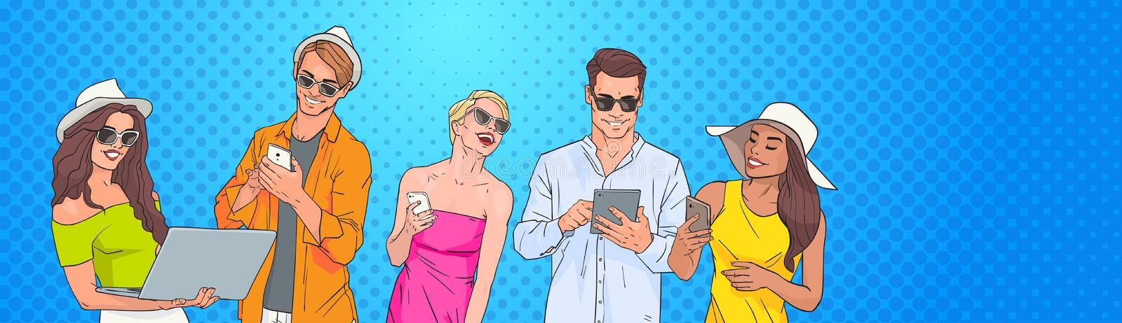 People Group Use Cell Smart Phone Tablet Laptop Computer Chatting Online Over Pop Art Colorful Retro Background vector illustration