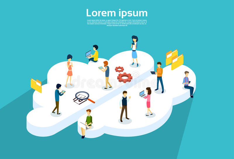 People Group Using Internet Gadgets Online Cloud Service Synchronization. Technology 3d Isometric Vector Illustration stock illustration