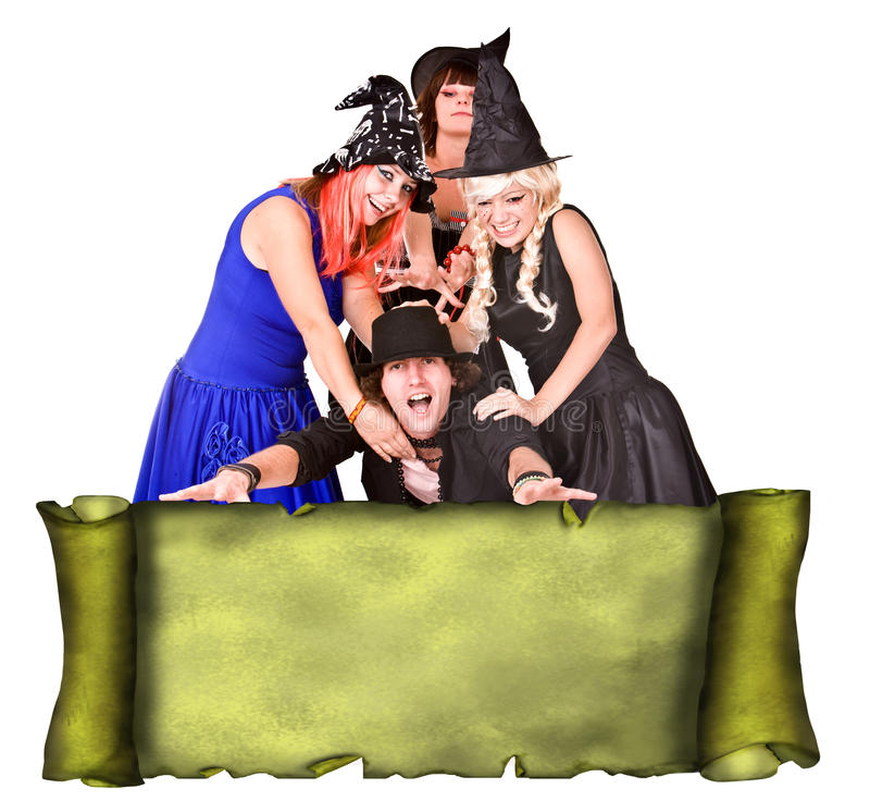 People Group  Witch Costume, Scroll Banner Grunge Stock Image