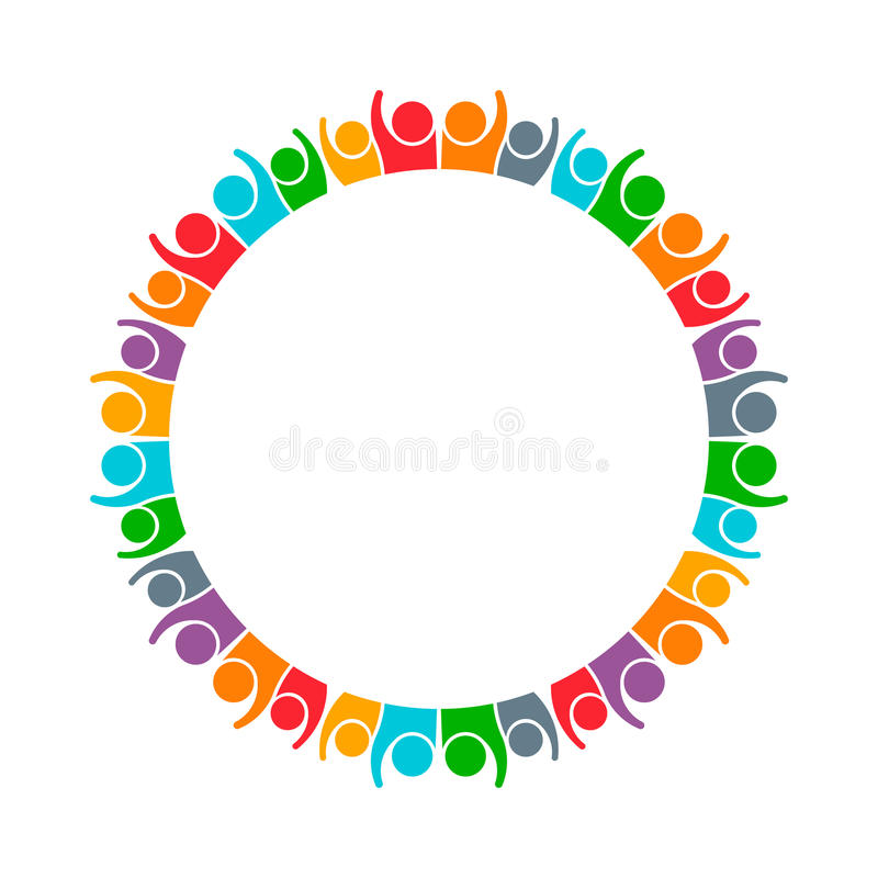 People Group Working and Collaborating Together. Group of 32 persons in a circle equal spaced to convey a concept of community, network of people stock illustration