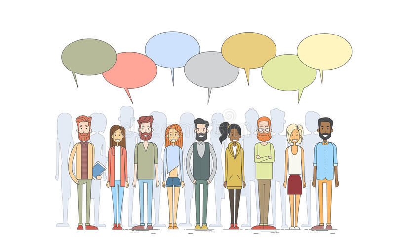 People Group Young Man Woman Hipster Casual Clothes Stand In Line Chat Box stock illustration