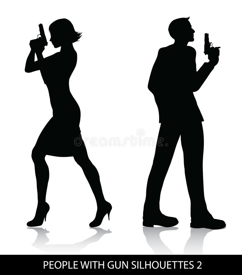 People with gun silhouettes stock illustration
