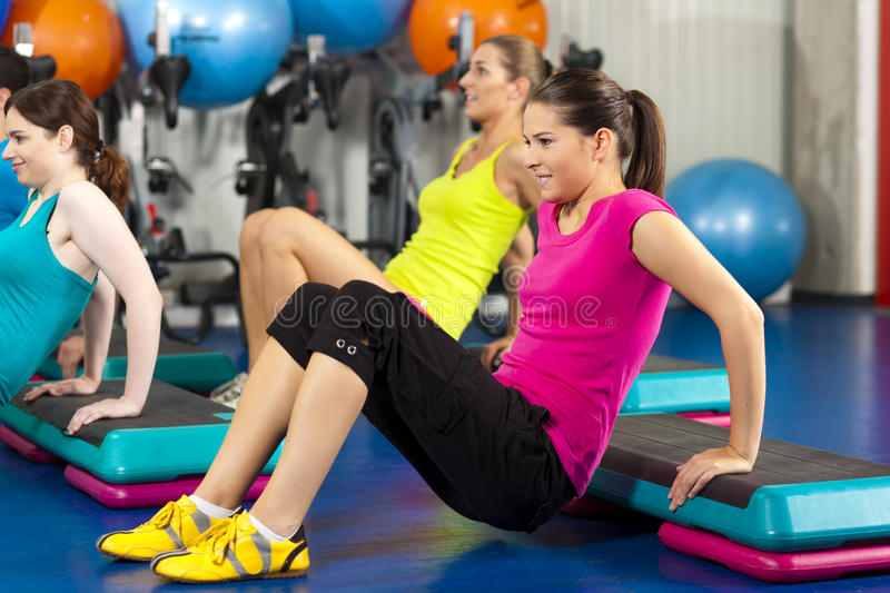 People In Gym On Step Board Stock Photos