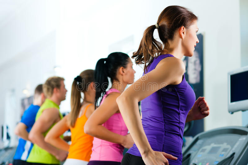 People in gym on treadmill running stock images