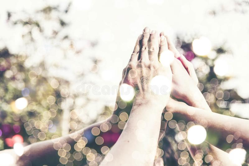 People hand assemble as a connection meeting teamwork concept. Group of people assembly hands as a business or work achievement. royalty free stock photography