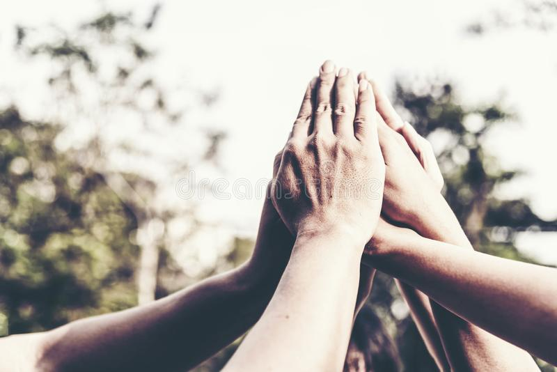 People hand assemble as a connection meeting teamwork concept. Group of people assembly hands as a business or work achievement. stock photo