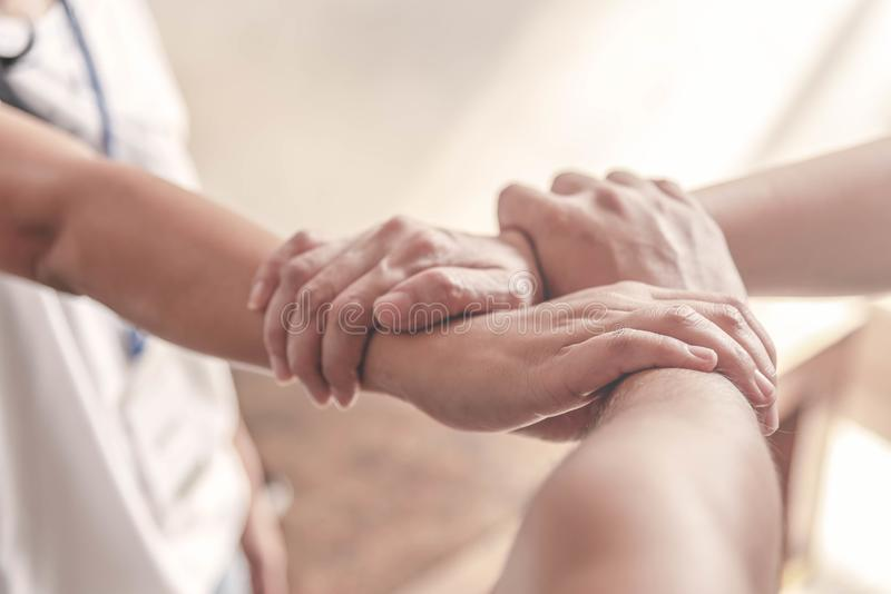 People hand assemble as a connection meeting teamwork concept. Group of people assembly hands as a business or work achievement. royalty free stock photos