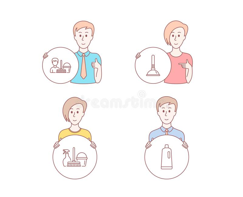 Household service, Plunger and Cleaning service icons. Shampoo sign. Vector royalty free illustration