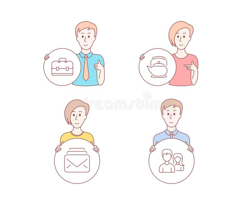 Mail, Teapot and Portfolio icons. Couple sign. New messages, Tea kettle, Business case. Male and female. Vector. People hand drawn style. Set of Mail, Teapot and stock illustration
