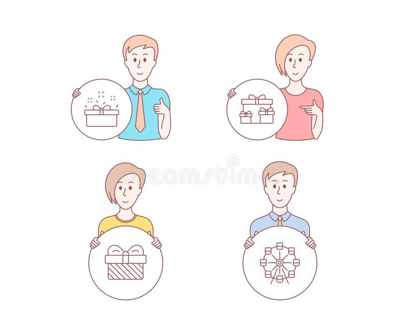 Surprise boxes, Gift and Present box icons. Ferris wheel sign. Holiday gifts, Present, Sale offer. Vector. People hand drawn style. Set of Surprise boxes, Gift vector illustration