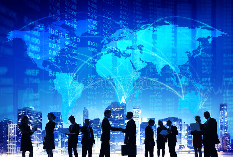 People Hand Shake Stock Exchange City Concepts royalty free stock photography
