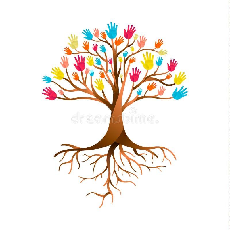 People hand tree for diversity teamwork royalty free illustration