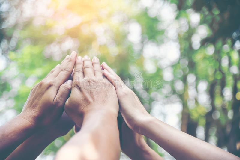 People hands assemble as a connection meeting teamwork concept. Group of people assembly hands as business or work achievement. royalty free stock photography