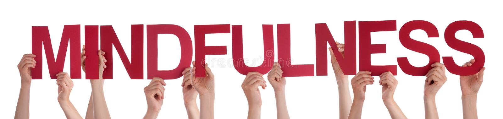 People Hands Holding Red Straight Word Mindfulness stock photos