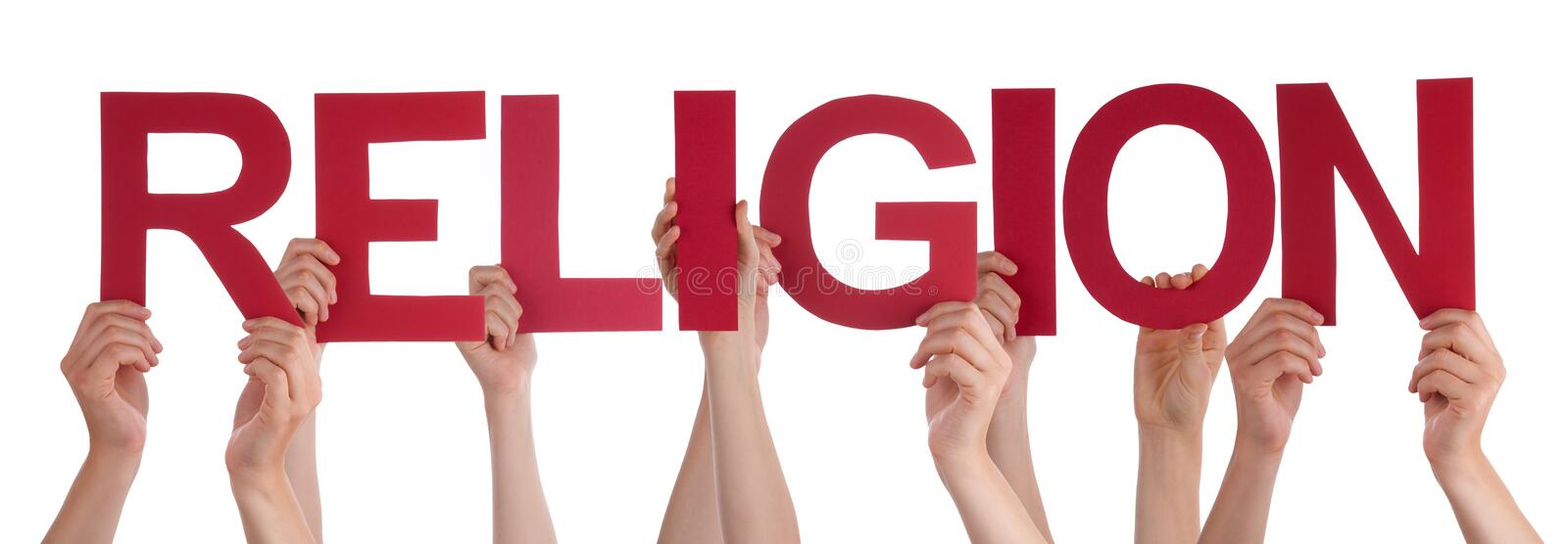 People Hands Holding Red Straight Word Religion. Many Caucasian People And Hands Holding Red Straight Letters Or Characters Building The Isolated English Word royalty free stock photo