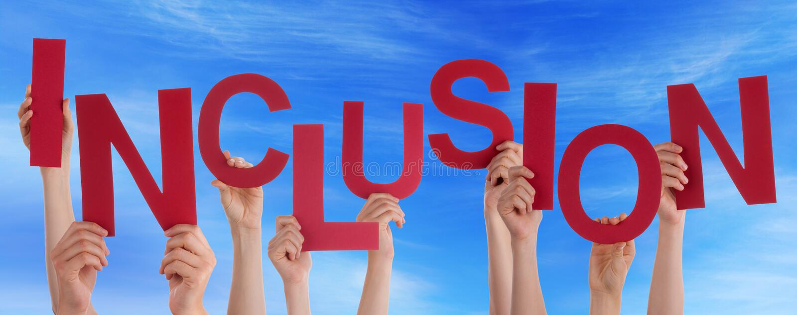 People Hands Holding Red Word Inclusion Blue Sky royalty free stock image
