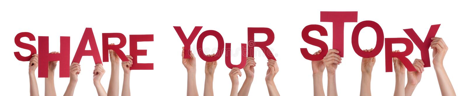 People Hands Holding Red Word Share Your Story royalty free stock photo