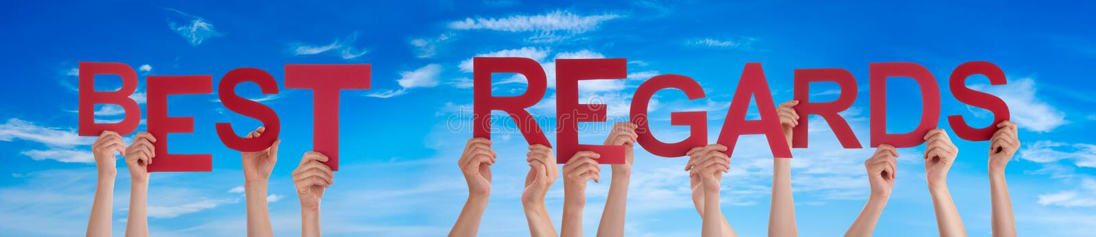 People Hands Holding Word Best Regard, Blue Sky. People Hands Holding Colorful English Word Best Regard. Blue Sky As Background stock photography