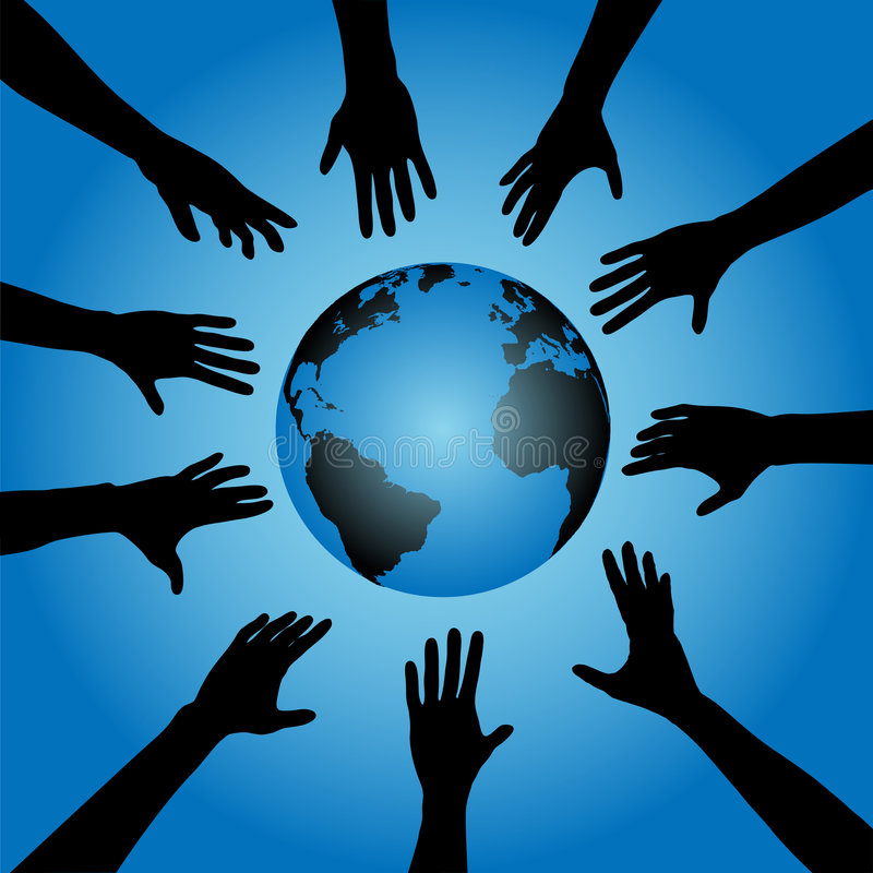 Download People Hands Reach For Earth Stock Vector - Image: 3178004
