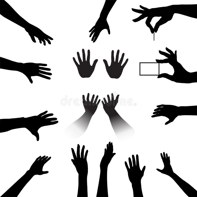 Download People Hands Silhouettes Set Stock Vector - Image: 3226253