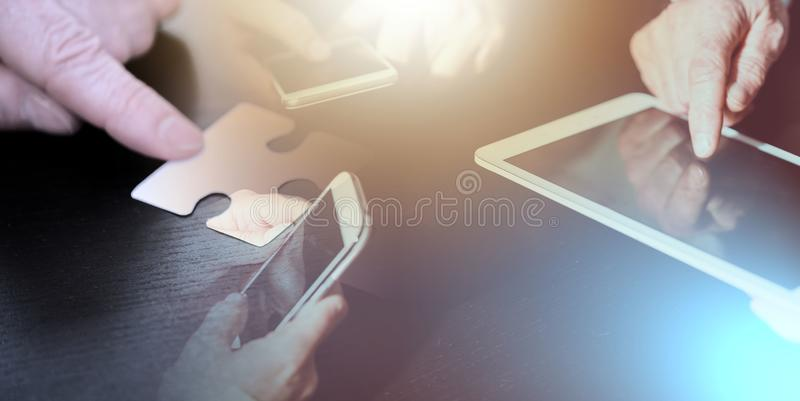 People hands using mobile phones and digital tablet; multiple ex. View of people hands using mobile phones and digital tablet, team concept; multiple exposure vector illustration