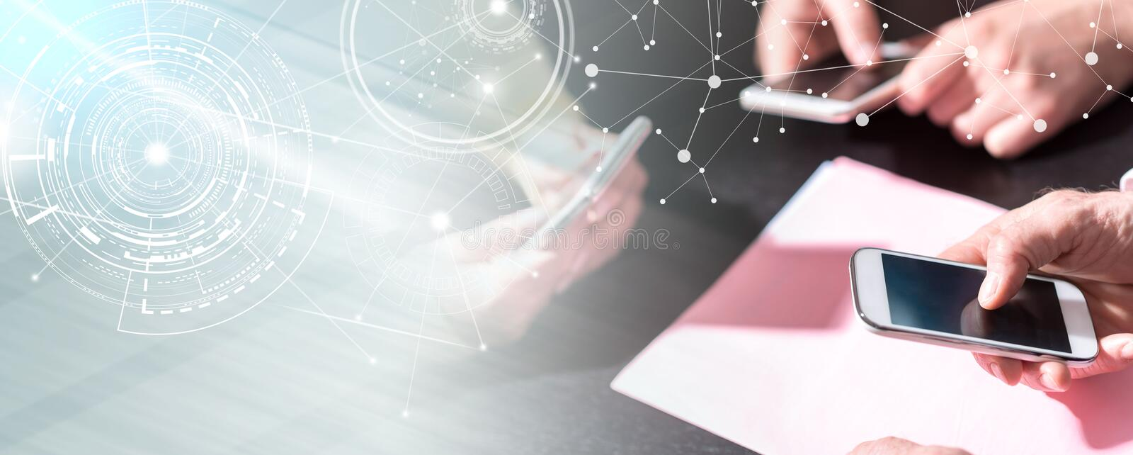 People hands using mobile phones; multiple exposure stock photos