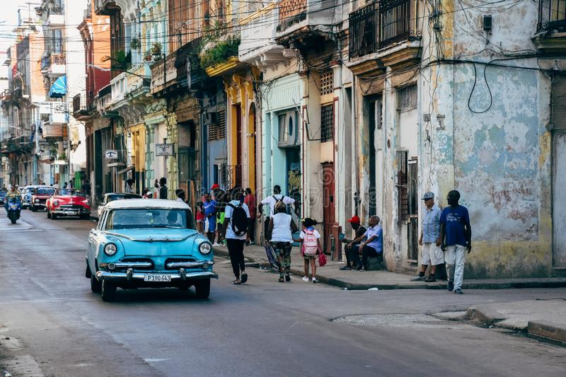 People hanging out in Havana city, Cuba. stock photo