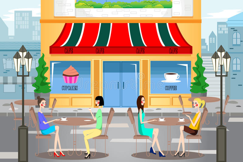 People Hanging Out Outside a Cafe. A vector illustration of modern young people hanging out outside a cafe in the city royalty free illustration