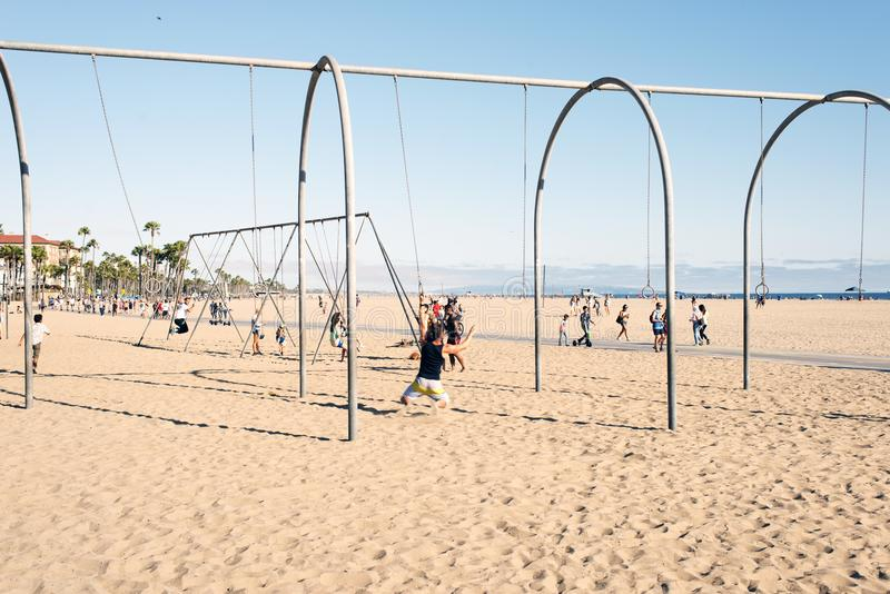 People hanging out and playing in Venice beach, California.  royalty free stock photo