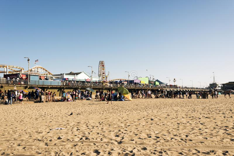 People hanging out and playing in Venice beach, California.  royalty free stock images