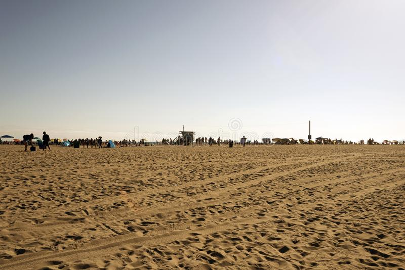 People hanging out and playing in Venice beach, California.  royalty free stock photos