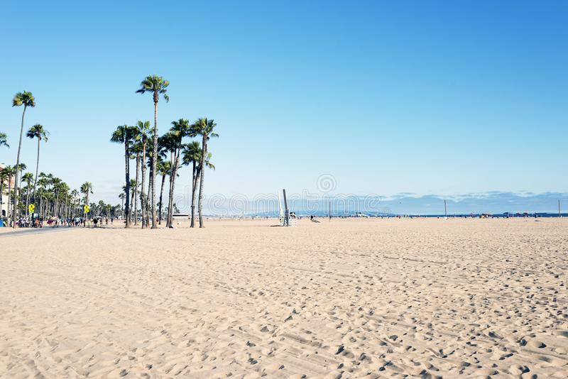People hanging out and playing in Venice beach, California.  stock photography