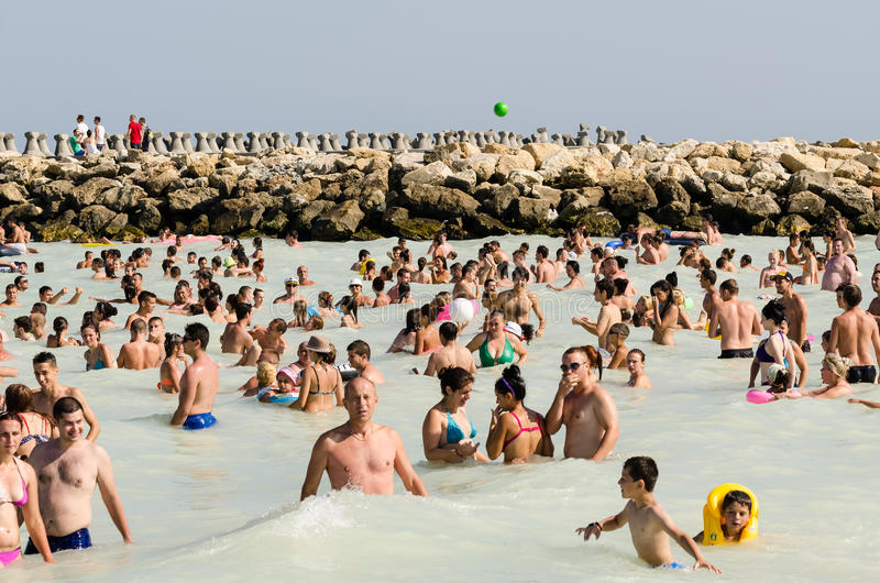 People Have Fun On The Beach stock photography