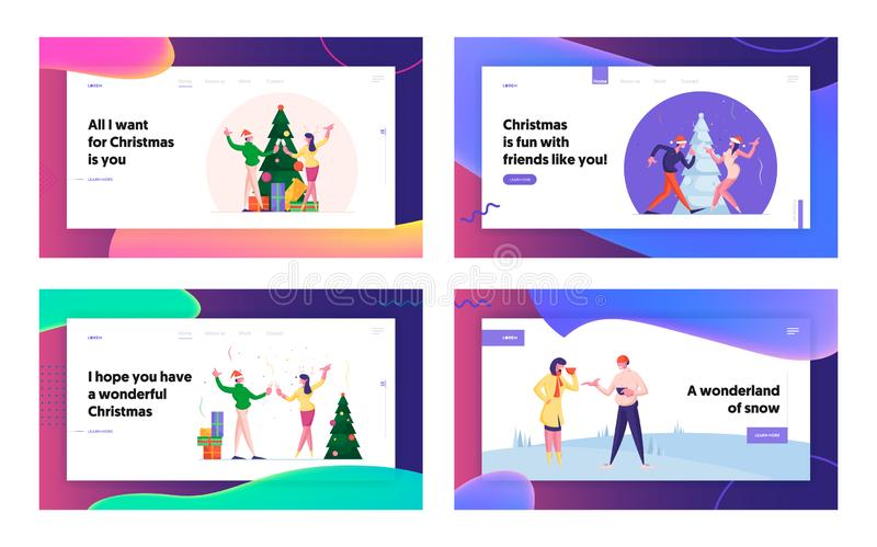 People Have Fun in Office or Home Party and Outdoors Meeting Landing Page Set. Men and Women Spending Time at Christmas royalty free illustration