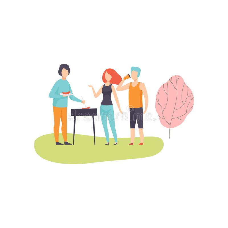 People Having BBQ Picnic on Nature, Friends Eating and Cooking Meat on Barbecue Grill Vector Illustration. On White Background vector illustration