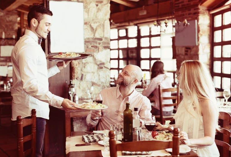 People having dinner rural restaurant royalty free stock images