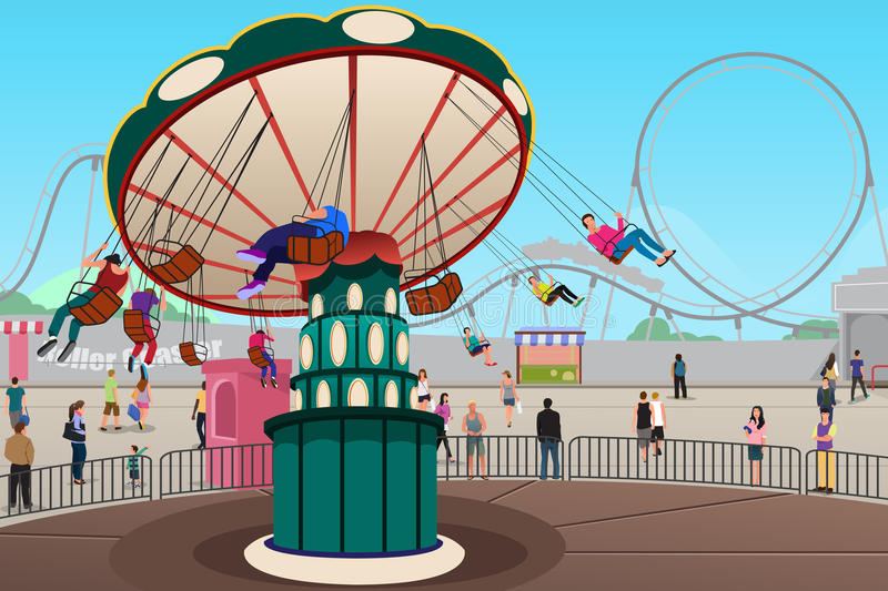 People Having Fun in Amusement Park royalty free illustration